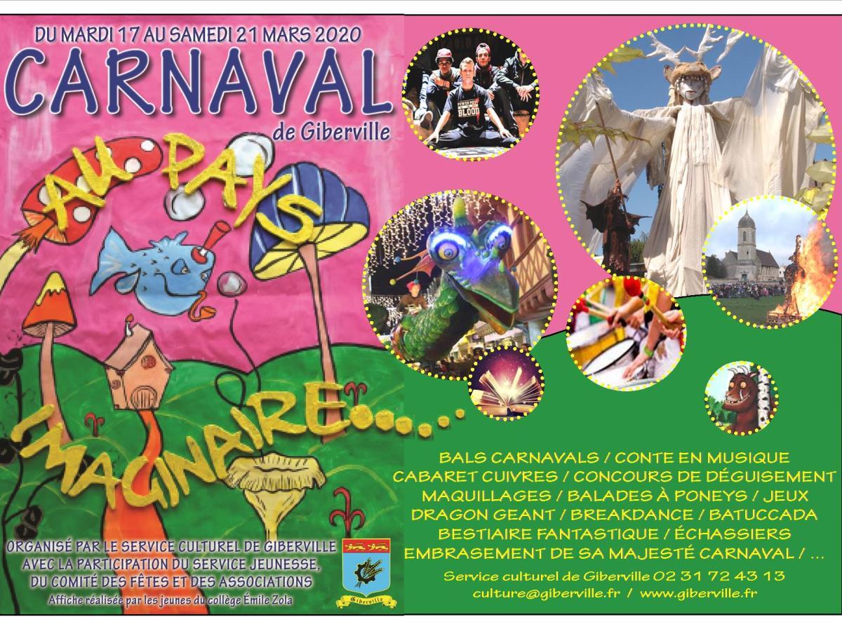 Dragon et marionnettes géantes au Carnaval de Giberville